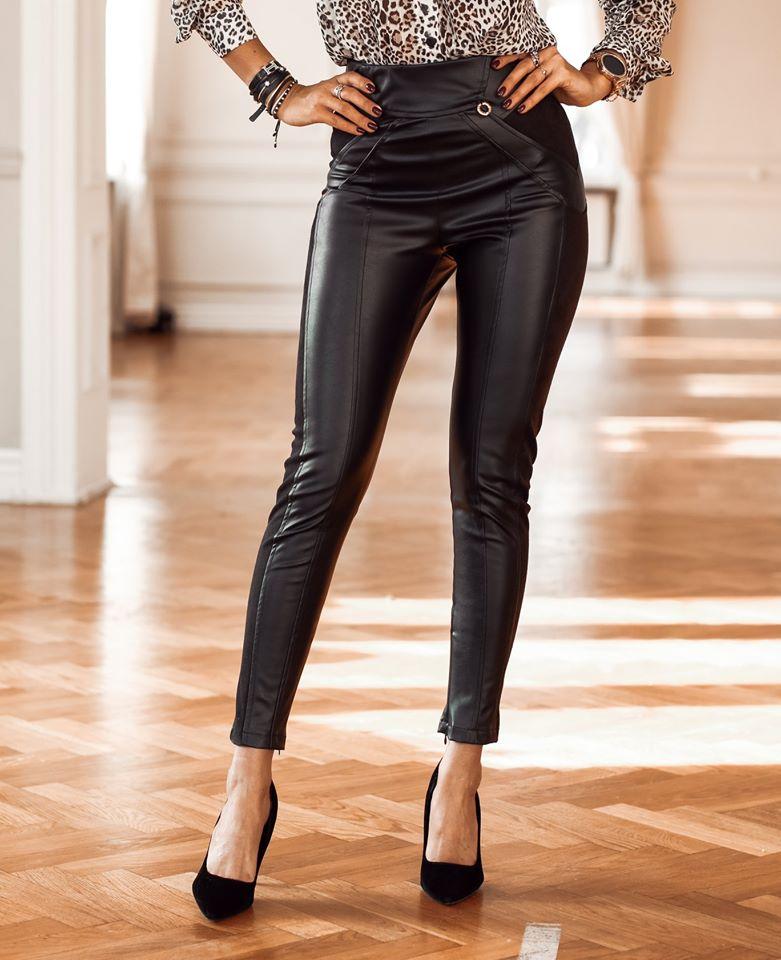 Dámske koženkové nohavice,čierne (Dámske koženkové nohavice,čierne)