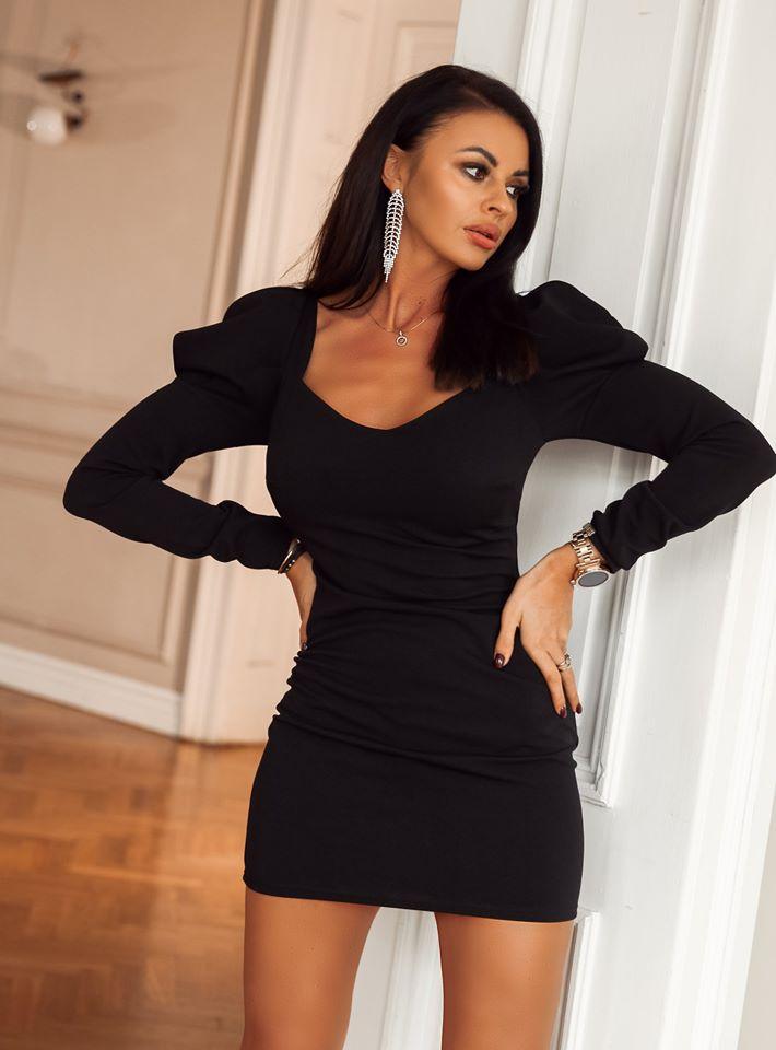 Dámske čierne šaty s dlhým rukávom (Dámske sexy čierne šaty ,šaty s dlhým rukávom)