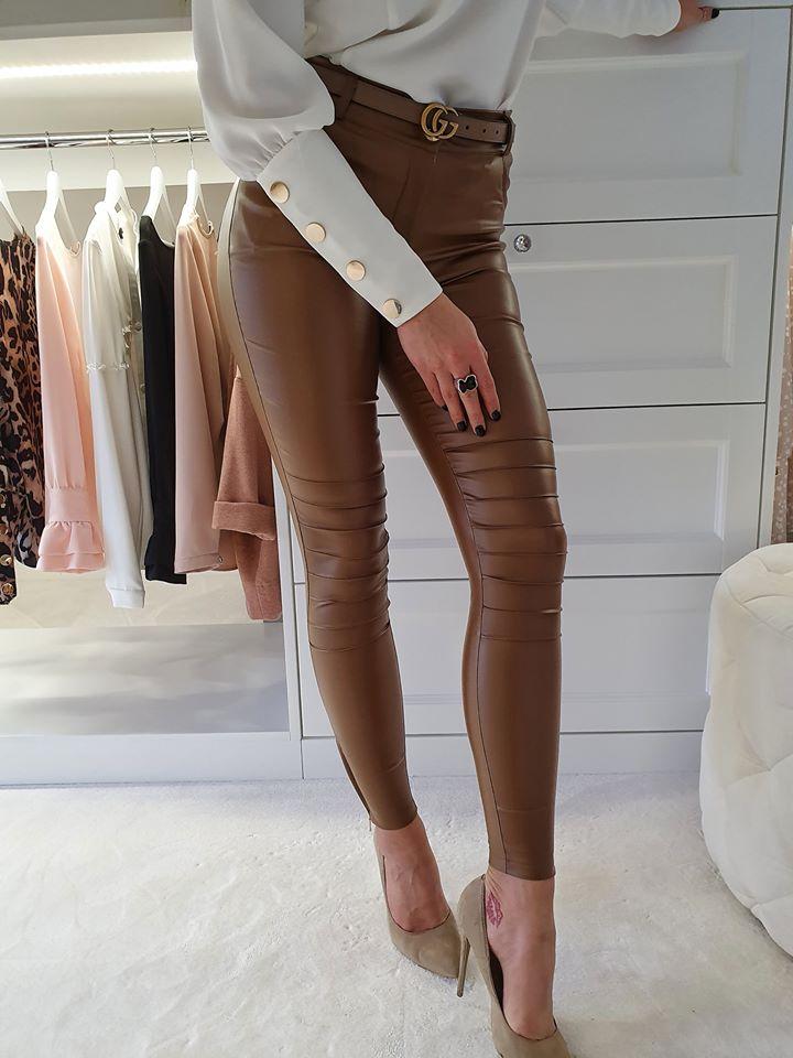 Dámske hnedé koženkové nohavice (Dámske hnedé koženkové nohavice )