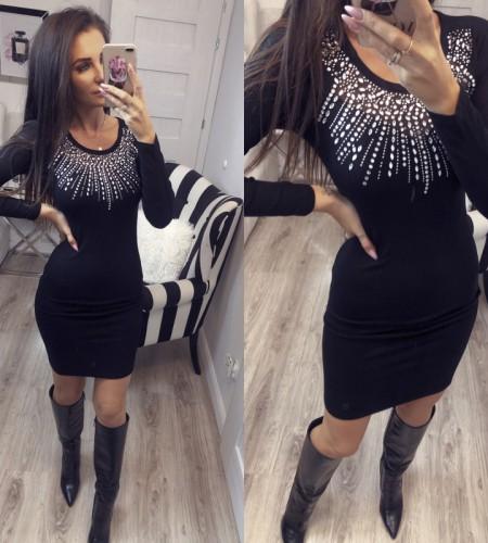 Dámske čierne šaty s kamienkama (Dámske čierne šaty s kamienkama)
