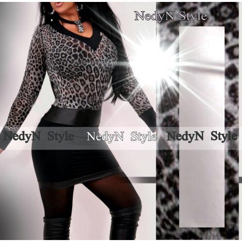 Dámske šaty s výstrihom (Dámske mini šaty s výstrihom v leopardim vzore)