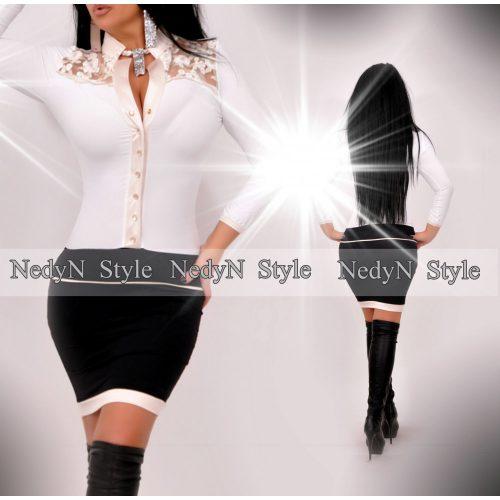 Krásne dámske bielo čierne šaty s dlhým rukávom (Krásne dámske bielo čierne šaty s dlhým rukávom)