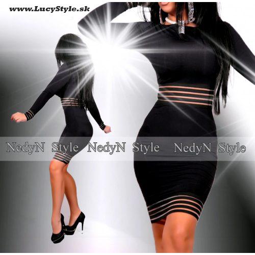 Dámske čierne šaty (Dámske elastické,obtiahnuté šaty )