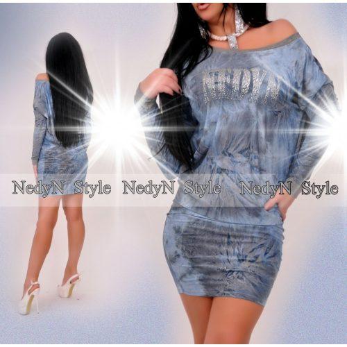 Dámske modré batikované šaty