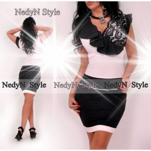 Dámske čierno-ružové šaty