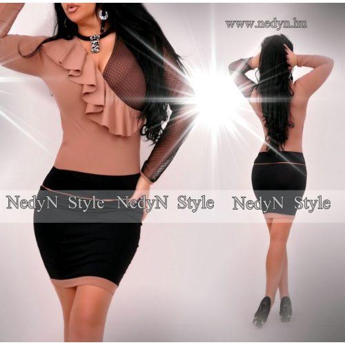 Dámske hnedo-čierne šaty (Dámske hnedo-čierne šaty)