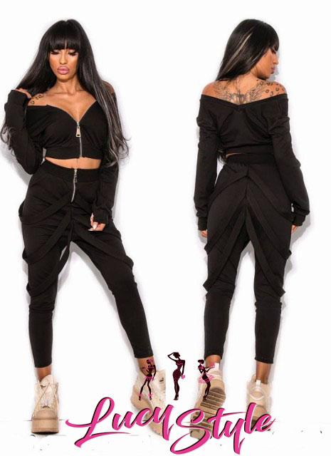 Dámska súprava v čiernej farbe nohavice + top empty b062b8d5ca0