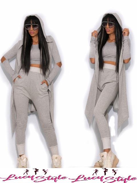 Dámska štýlová súprava kardigán+teplakové nohavice+top v sivej farbe empty c1f9efebc5e